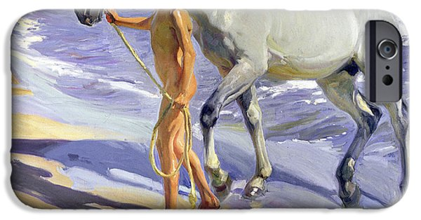 Young iPhone Cases - Washing the Horse iPhone Case by Joaquin Sorolla y Bastida