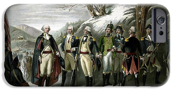 Patriots Day iPhone Cases - Washington and His Generals  iPhone Case by War Is Hell Store