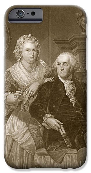 First Lady Portrait Drawings iPhone Cases - Washington at Home iPhone Case by Alonzo Chappel