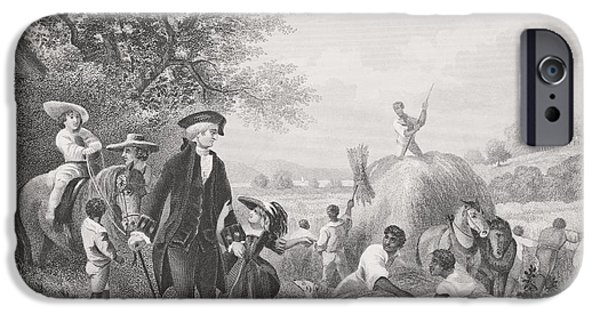 First Black President Drawings iPhone Cases - Washington At Mount Vernon Usa. George iPhone Case by Ken Welsh