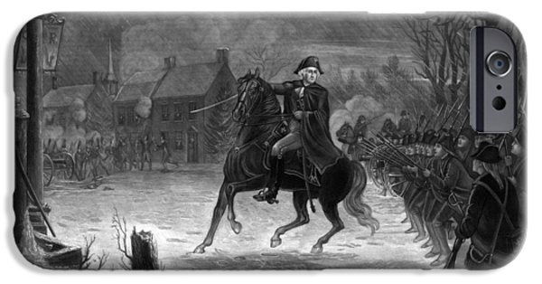 President iPhone Cases - Washington At The Battle Of Trenton iPhone Case by War Is Hell Store