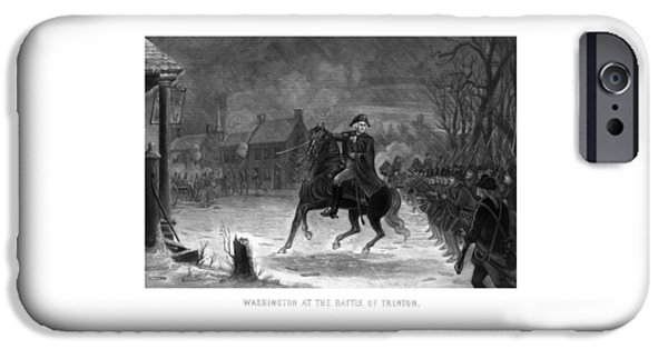 American Revolution iPhone Cases - Washington At The Battle Of Trenton iPhone Case by War Is Hell Store