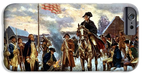American Revolution iPhone Cases - Washington at Valley Forge iPhone Case by War Is Hell Store