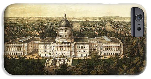 White House iPhone Cases - Washington City 1857 iPhone Case by Jon Neidert