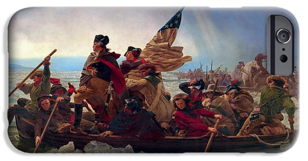 Patriots iPhone Cases - WASHINGTON CROSSING the DELAWARE iPhone Case by Daniel Hagerman