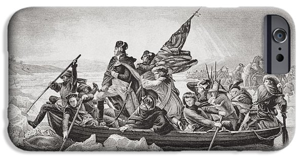 First Black President Drawings iPhone Cases - Washington Crossing The Delaware Near iPhone Case by Ken Welsh