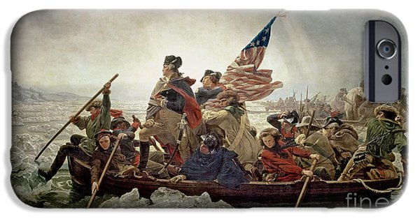 Sailing Paintings iPhone Cases - Washington Crossing the Delaware River iPhone Case by Emanuel Gottlieb Leutze
