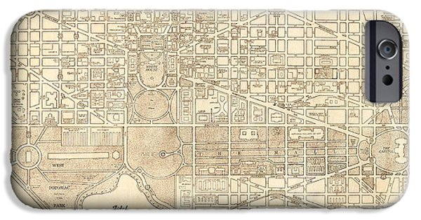 Old Digital Art iPhone Cases - Washington DC Antique Vintage City Map iPhone Case by ELITE IMAGE photography By Chad McDermott