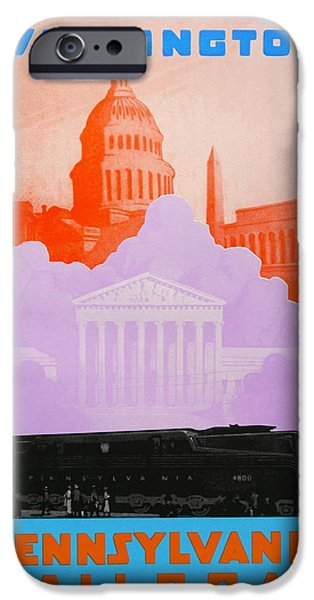 Landmarks Drawings iPhone Cases - Washington DC iPhone Case by David Studwell