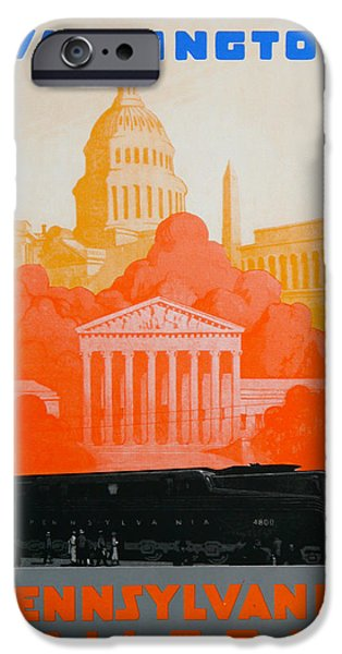 Landmarks Drawings iPhone Cases - Washington DC III iPhone Case by David Studwell