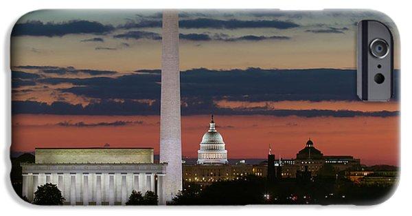 D.c. iPhone Cases - Washington DC Landmarks at Sunrise I iPhone Case by Clarence Holmes
