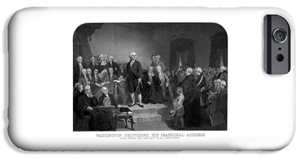 4th July Mixed Media iPhone Cases - Washington Delivering His Inaugural Address iPhone Case by War Is Hell Store