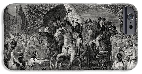First Black President Drawings iPhone Cases - Washington Entering Trenton New Jersey iPhone Case by Ken Welsh