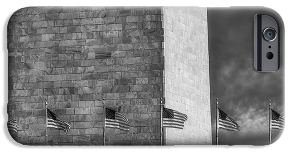 Scenic iPhone Cases - Washington Monument And USA Flags BW iPhone Case by Susan Candelario