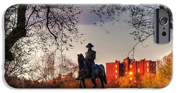 City. Boston iPhone Cases - Washington Monument at Sunset in the Boston Public Garden iPhone Case by Joann Vitali