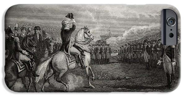 First Black President Drawings iPhone Cases - Washington Taking Command Of The Army iPhone Case by Ken Welsh