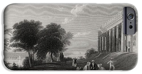 First Black President Drawings iPhone Cases - Washingtons House Mount Vernon Usa iPhone Case by Ken Welsh