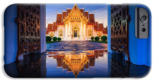 Buddhist iPhone Cases - Wat Benchamaborpit the Marble Temple with Reflection in Thailand iPhone Case by Kittikorn Nimitpara