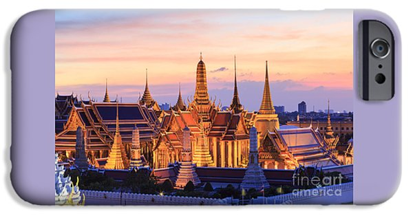 Buddhist iPhone Cases - Wat Phra Kaew Temple of the Emerald Buddha and Grand Palace at twilight in Bangkok iPhone Case by Kittikorn Nimitpara