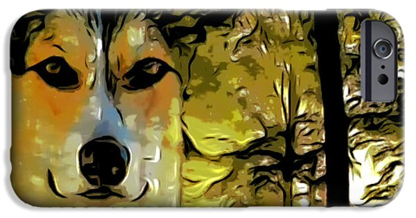 Dog In Landscape Digital iPhone Cases - Watcher of the Woods iPhone Case by Kathy Kelly