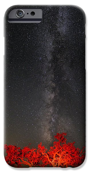 Constellations iPhone Cases - Watching in Awe as the Milky Way Rises Panorama - Enchanted Rock Fredericksburg Texas Hill Country iPhone Case by Silvio Ligutti