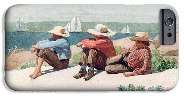 Watching iPhone Cases - Watching Ships   Gloucester iPhone Case by Winslow Homer