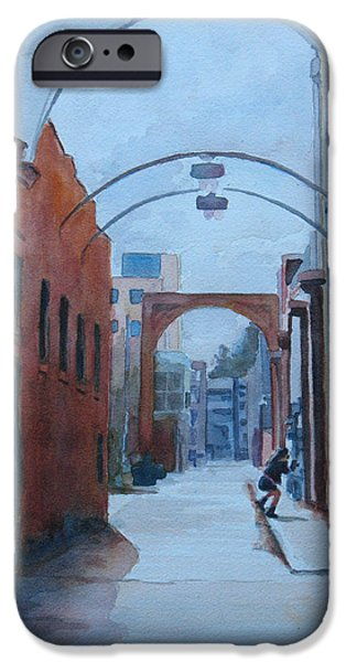 Alley Paintings iPhone Cases - Watching the Photographer iPhone Case by Jenny Armitage
