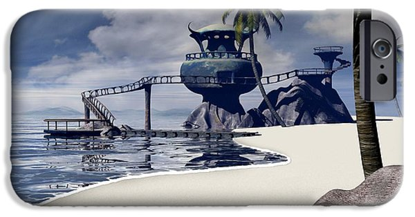 Surrealism Digital Art iPhone Cases - Watchtower Beach iPhone Case by Cynthia Decker