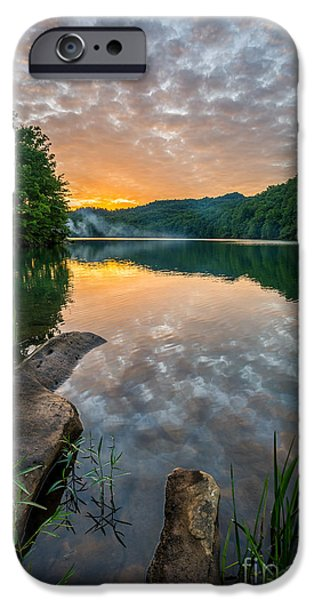 Reflecting Sunset iPhone Cases - Water Blaze iPhone Case by Anthony Heflin