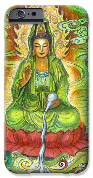Yin Paintings iPhone Cases - Water Dragon Kuan Yin iPhone Case by Sue Halstenberg