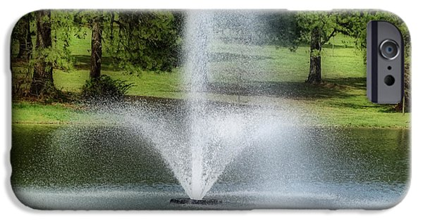 Spring Scenery iPhone Cases - Water Fountain iPhone Case by Sandy Keeton