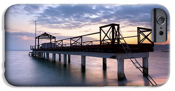 Sea iPhone Cases - Water Jetty iPhone Case by Simon Kayne