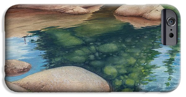 Reflecting Water Paintings iPhone Cases - Water Like Glass And Mirror iPhone Case by Bill Shelton
