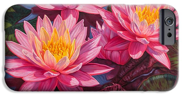 Chicago Paintings iPhone Cases - Water Lilies 3 - Sunfire iPhone Case by Fiona Craig