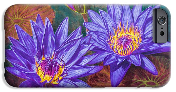 Sears Tower iPhone Cases - Water Lilies 9 - Purple Water Lilies iPhone Case by Fiona Craig