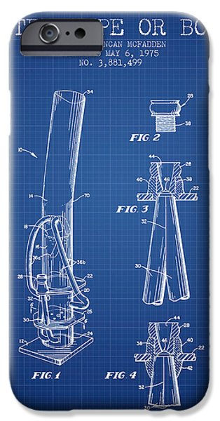 Joints iPhone Cases - Water Pipe or Bong Patent 1975 - Blueprint iPhone Case by Aged Pixel