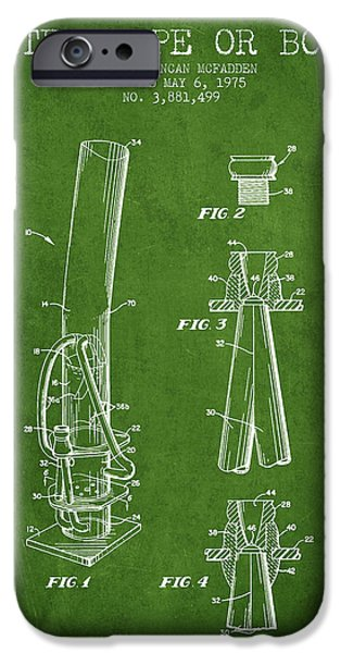 Joints iPhone Cases - Water Pipe or Bong Patent 1975 - Green iPhone Case by Aged Pixel