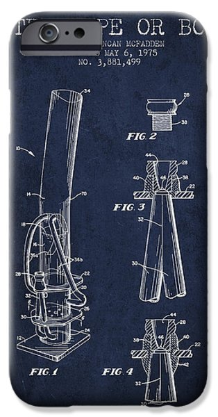 Joints iPhone Cases - Water Pipe or Bong Patent 1975 - Navy Blue iPhone Case by Aged Pixel