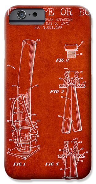 Joints iPhone Cases - Water Pipe or Bong Patent 1975 - Red iPhone Case by Aged Pixel