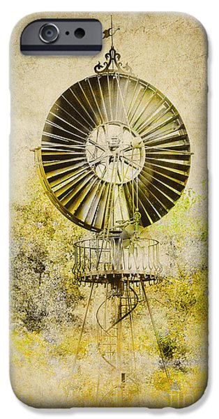 Energy Industry iPhone Cases - Water-Pumping Windmill iPhone Case by Heiko Koehrer-Wagner
