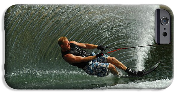 Skiing Art iPhone Cases - Water Skiing Magic of Water 11 iPhone Case by Bob Christopher