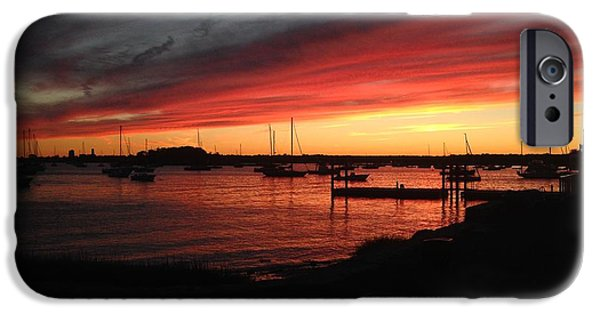 Sailboats iPhone Cases - Water Sunset iPhone Case by Maddie J
