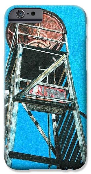 Colorado Drawings iPhone Cases - Water Tower iPhone Case by Glenda Zuckerman