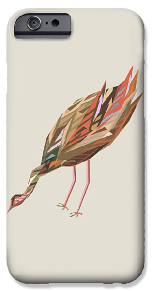 Abstract Digital Drawings iPhone Cases - Waterbird c iPhone Case by Thecla Correya