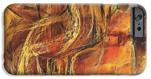 Abstract Expressionist Pastels iPhone Cases - Waterbird iPhone Case by Tom Kecskemeti