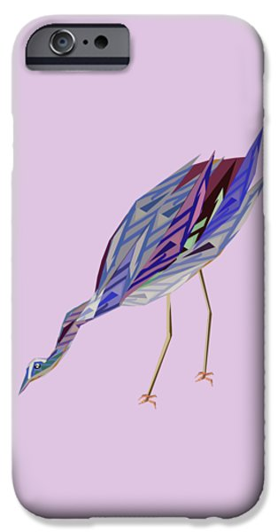 Abstract Digital Drawings iPhone Cases - Waterbird iPhone Case by Thecla Correya
