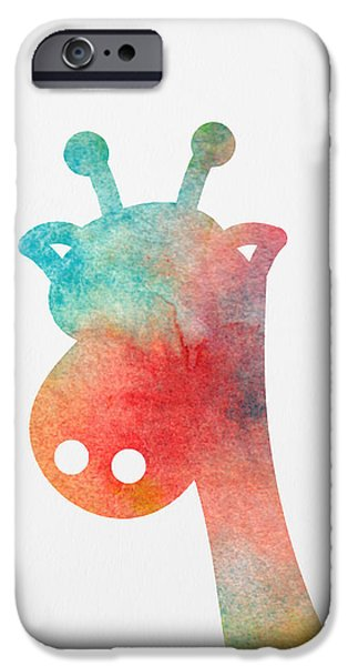 Nursery Art iPhone Cases - Watercolor Baby Giraffe iPhone Case by Nursery Art