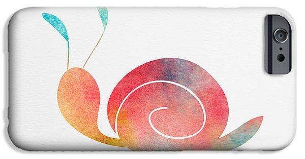 Nursery Art iPhone Cases - Watercolor Baby Snail iPhone Case by Nursery Art