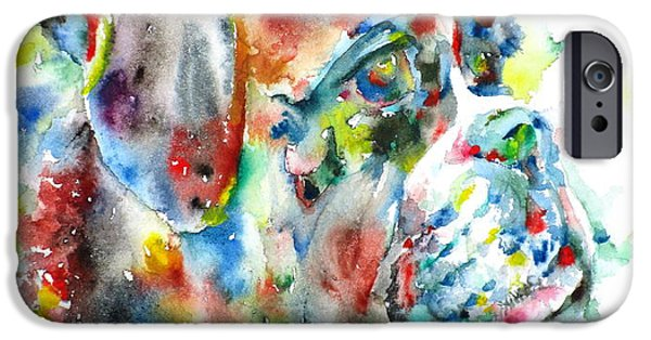 Dog Head iPhone Cases - Watercolor Boxer iPhone Case by Fabrizio Cassetta
