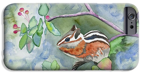 Berry iPhone Cases - Watercolor - Chipmunk Eating Berries iPhone Case by Cascade Colors
